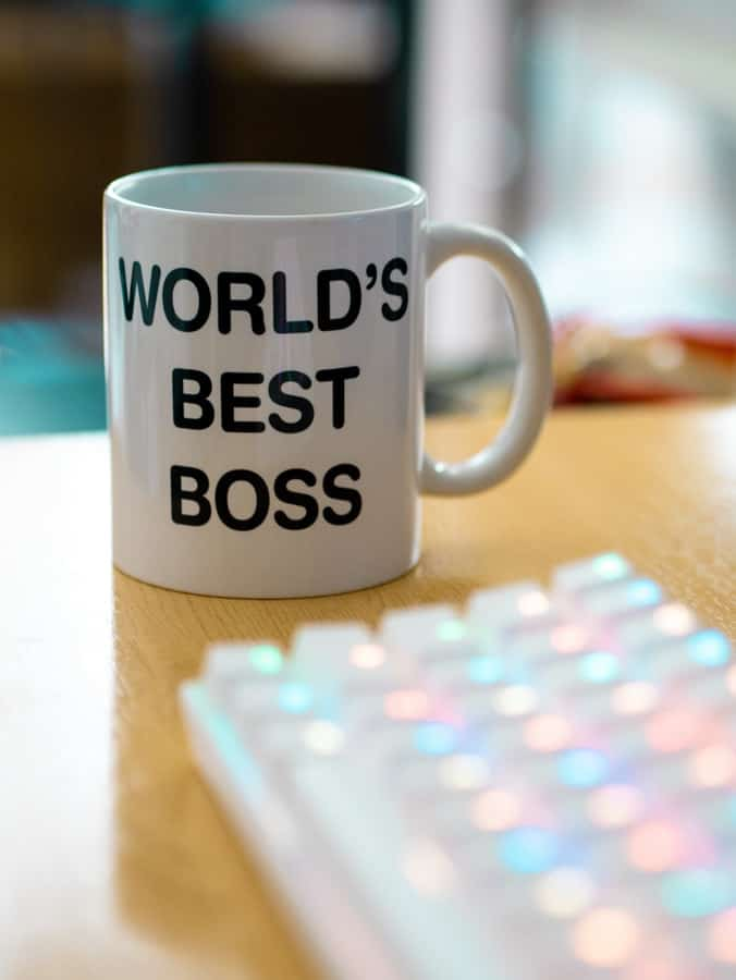 mug that has a print saying worlds best boss